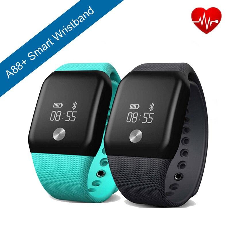 imágenes para A88 + Smart Pulsera Banda Podómetro Del Ritmo Cardíaco Del Deporte Reloj de la Aptitud SPO2H Tracker Monitor de Oxígeno Arterial Pulsera Para iOS Android