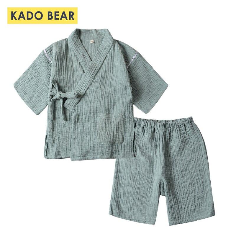 Children's Japanese Kimono   Pajamas     Set   Baby Boys Girls Summer Sleepwear Kids Kimono Cotton Home Pyjamas Suits Underwear Clothing