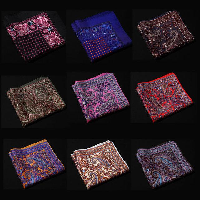 Nf Paisley Floral pañuelo 100% de satén de seda Natural para hombre del pañuelo de moda banquete de boda Classic Pocket Square