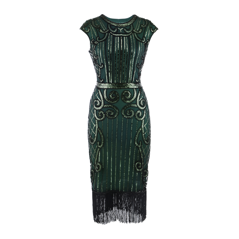 factory oem 1920s Sequined Short Flapper Party Dress Double Layer Tassels Hem Cocktail evening party dress showgirl costume