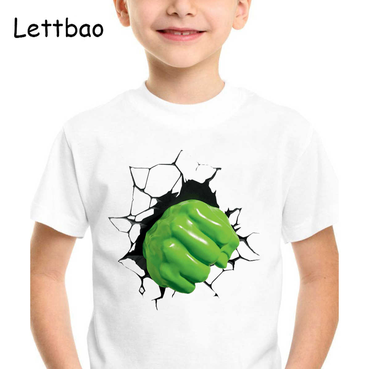 Marvel Superheroe Boys Camiseta niños Camiseta The Hulk estampado 3D camisetas de moda Camiseta de niño niños ropa Camiseta