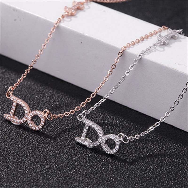 Alphabet I DO letter s925 metal Rhodium rose gold plated necklace for engagement wedding in Necklaces from Jewelry Accessories