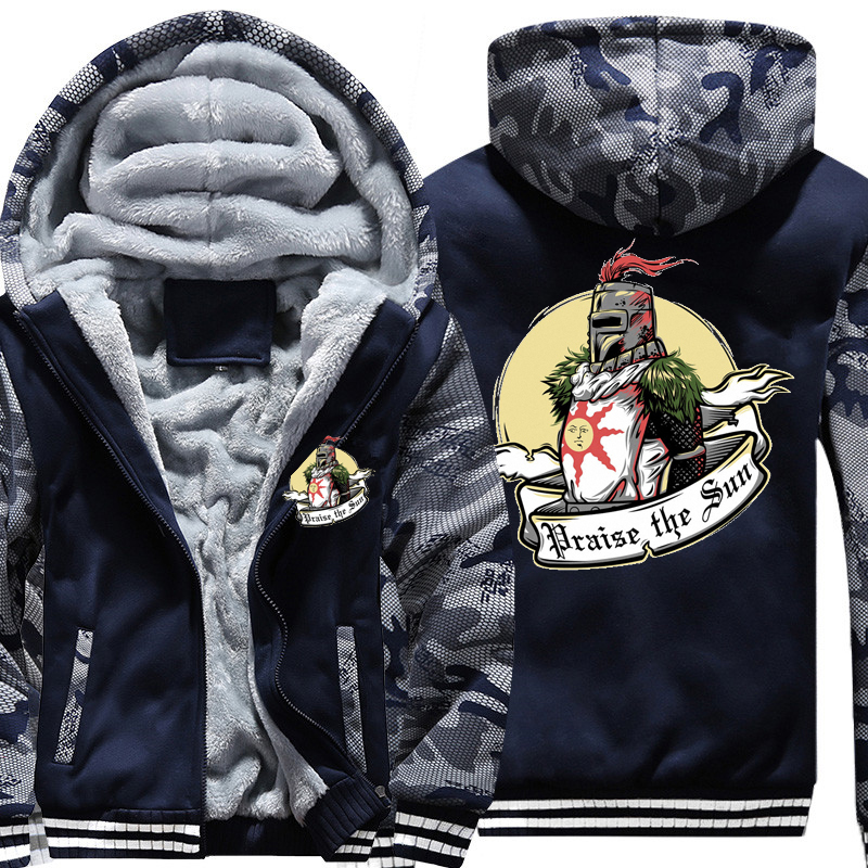 Размер США 2018 г. новые модные зимние теплые Dark Souls толстовки игры Восславь солнце Для мужчин Толстая теплая куртка с капюшоном Для мужчин S па...