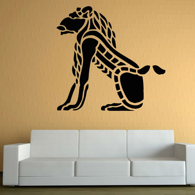 Most Popular Squatting Tribal Lion Wall Sticker Background