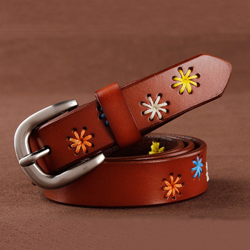 [HIMUNU]Fashion Brand Genuine Leather Belts for Women Vintage Floral Design Cowskin Belt Woman Top Quality Women belt 4 Color 1