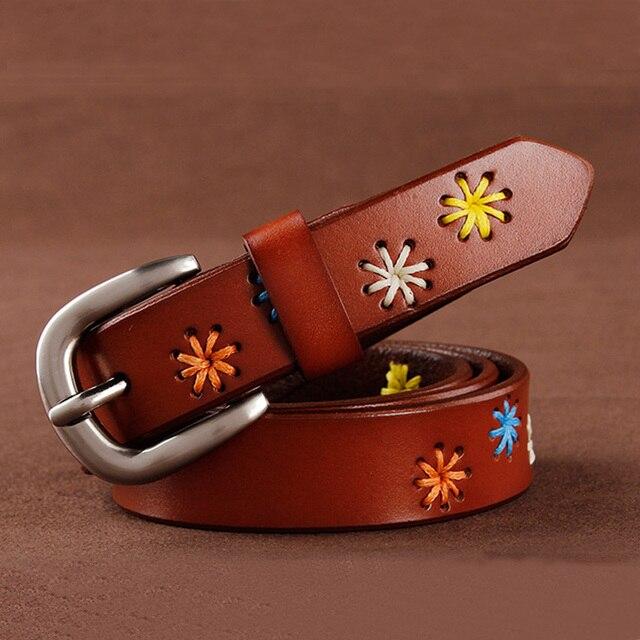 [HIMUNU]Fashion Brand Genuine Leather Belts for Women Vintage Floral Design Cowskin Belt Woman Top Quality Women belt 4 Color 1