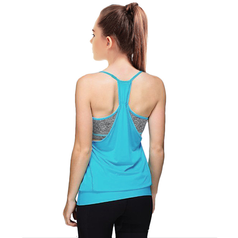 76f4628488 Yoga tops spaghetti strap camis sport activewear with built in bra shock  proof twinset tank top strappy summer tank-in Running Vests from Sports ...