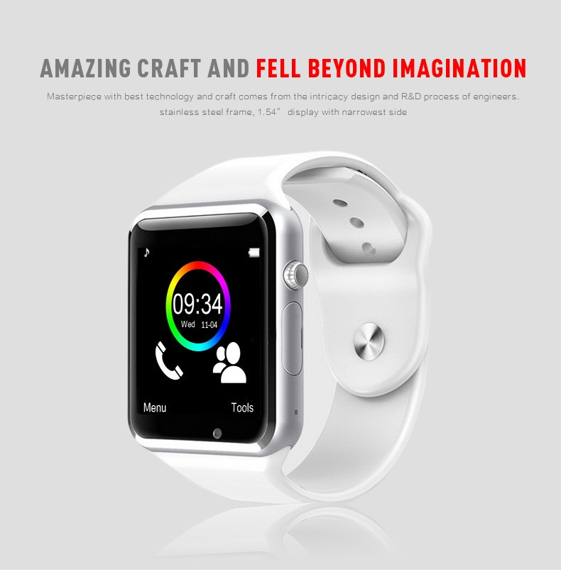 A1 WristWatch Bluetooth Smart Watch Sport Pedometer with SIM Camera Smartwatch For Android white one size 1