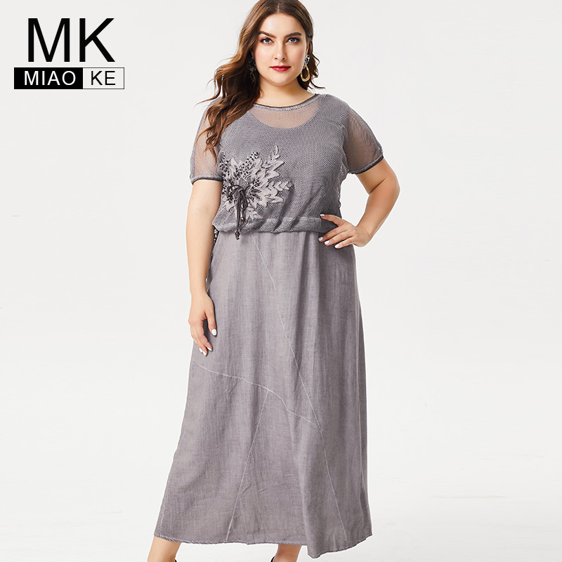 MK 2019 Summer Ladies Plus Size linen maxi dress fashion women office lady female elegant dresses