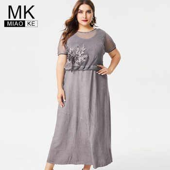 MK 2019 Summer Ladies Plus Size linen maxi dress fashion women office lady female elegant  dresses for women 4xl 5xl 6xl - DISCOUNT ITEM  40% OFF All Category