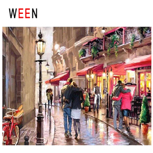 WEEN Night Street Diy Painting By Numbers Abstract Walking Lovers Oil On Canvas Cuadros Decoracion Acrylic Home Art