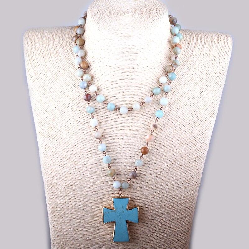 MOODPC Mode Bohemian Tribal Artisan Schmuck Rosenkranz Kette Amazonit Steine Kreuz Halskette