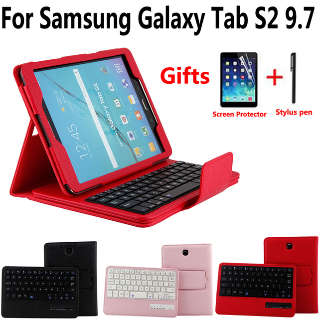 on sale c9135 58df9 US $25.86 19% OFF|Detach Wireless Bluetooth Keyboard Case Cover for Samsung  Galaxy Tab S2 9.7 T810 T815 T813 T819 with Screen Protector Film Pen-in ...