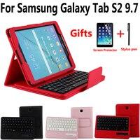 Funda de carcasa de teclado Bluetooth inalámbrico para Samsung Galaxy Tab S2 9 7 T810 T815 T813 T819 con bolígrafo Protector de pantalla
