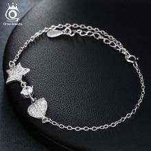1f48c346f843 Pulsera de plata informal de ORSA JEWEL con corazón de amor y colgante de  estrella 2018 nuevas Pulseras de Moda brazaletes de jo.