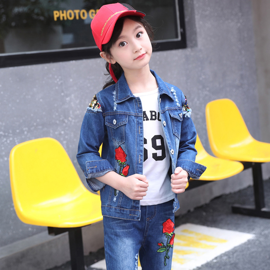 Image 3 - Abesay Autumn Girls Set Rose Sequins Jacket+Jeans Fashion Clothing For Girls Teenage Winter Clothes For Kids 4 6 8 12 13 Years-in Clothing Sets from Mother & Kids