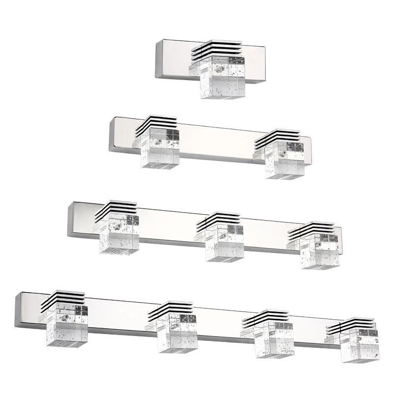 ФОТО waterproof K9 bubble crystal column 2 heads 6W led mirror light for bathroom AC 80-265V 1099