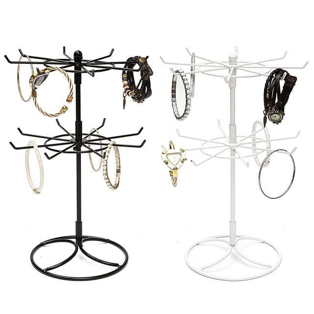 Hot Metal Jewelry Holder Rack Cute Double Rotation Shape Hanging