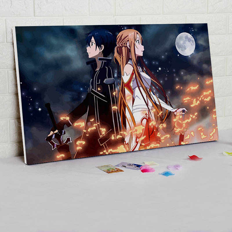diy oil painting Sao  digital paint by numbers  Japan Style cartoon poster  modular painting   coloring by numbers