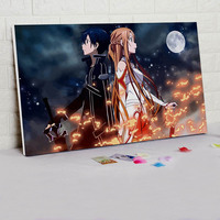 Diy Oil Painting Sao Digital Paint By Numbers Japan Style Cartoon Poster Modular Painting Coloring By