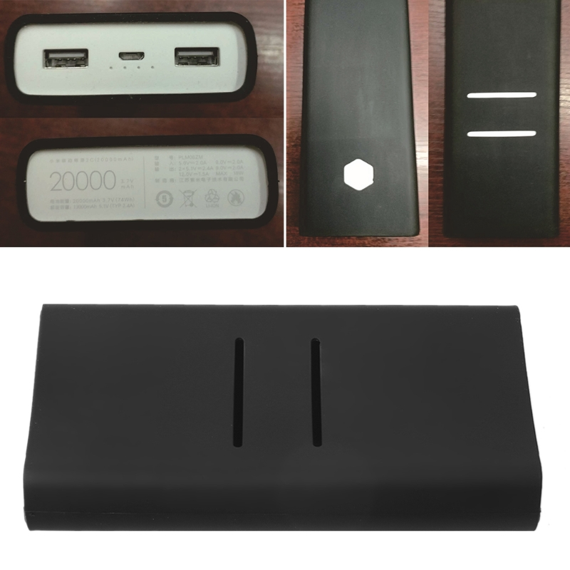 1pc Anti-slip Silicone Protection Case Cover For Xiaomi Mi 2C 20000mAh Powerbank Protector Sleeve Power Bank Accessories Black