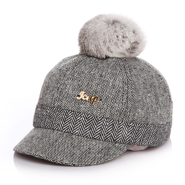 100% Real Rabbit Hair Ball Sports Golf Hat Kid Winter Pompon Equestrian Cap  For Girl 18e1d84fa4d9