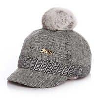 100% Real Rabbit Hair Ball Sports Golf Hat Kid Winter Pompon Equestrian Cap For Girl Boy Warm Children Winter Baseball Cap