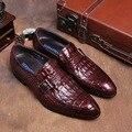 Крокодил зерна коричневый загар/черный летние мокасины платье обувь из натуральной кожи причинно бизнес обувь мужская свадебные туфли с пряжкой