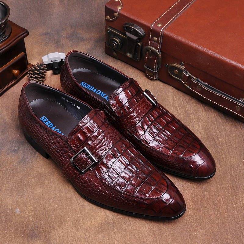 Crocodile grain brown tan/black summer loafers dress shoes genuine leather causal business shoes mens wedding shoes with buckle crocodile grain brown tan black loafers mens dress shoes genuine leather wedding shoes mens casual business shoes