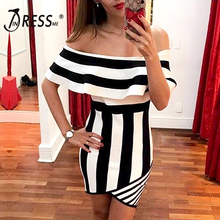 INDRESSME Women Bandage Dress Off Shoulder Striped Sexy Mini Bodycon Party Dresses Lady 2018 Club Fashion