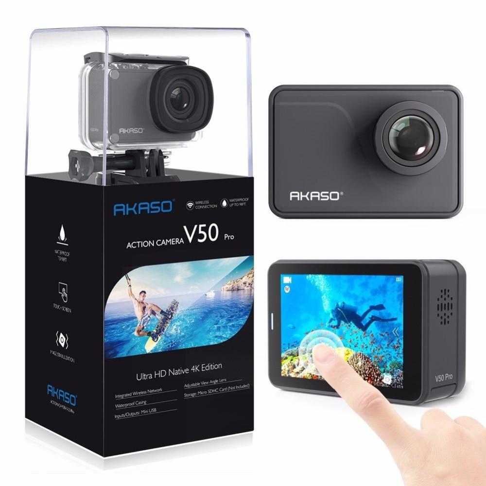 AKASO V50 Pro Natif 4 k/30fps 20MP WiFi Camera Action avec L'EIS Écran Tactile Réglable Angle de Vue 30 m Étanche Caméra