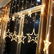 New 12 Five-pointed Star LED Strip Light Starry Sky Lamp Curtain Waterfall lights Ice Lantern Garland Decorative 8 Flash Modes(China)