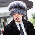 Invierno bombardero sombrero al aire libre masculino gorra de cuero genuino de los hombres de piel de zorro sombrero de piel para MZ * 17
