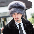 Winter bomber fur hat male outdoor genuine leather cap men  fox fur hat for  MZ*17