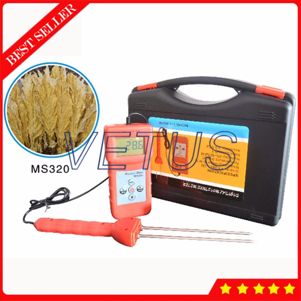 MS320 8%-40% Digital Tobacco Moisture Meter with 11 kinds Code choice moisture testing machine mc 7806 digital moisture analyzer price pin type moisture meter for tobacco cotton paper building soil