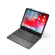купить For iPad Pro 12.9 2018 Case 360 Degree Rotation 7 Colors Backlit Bluetooth Keyboard Flip Stand Smart Sleep Laptop Tablet Cover дешево