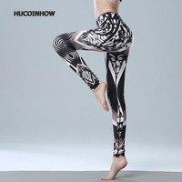 HUCOINHOW Automne Sport Impression Pantalon Femelle Taille Haute Yoga Pantalon Femmes De Danse Pantalon Femmes Leggings de Sport Tissu
