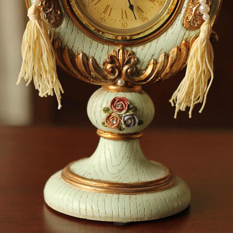 Europeo Retrò Orologio Da Tavolo In Rilievo Rosa Puntatore Orologio Creativo Mestieri Della Resina Ornamenti Per La Casa Soggiorno Decorazione Da Tavolo
