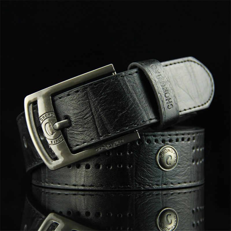 男性のデニムカジュアルベルト中空リベットパンクスタイルベルト幅のためのファッションストラップ男性高品質ジーンズ PU 革ベルト