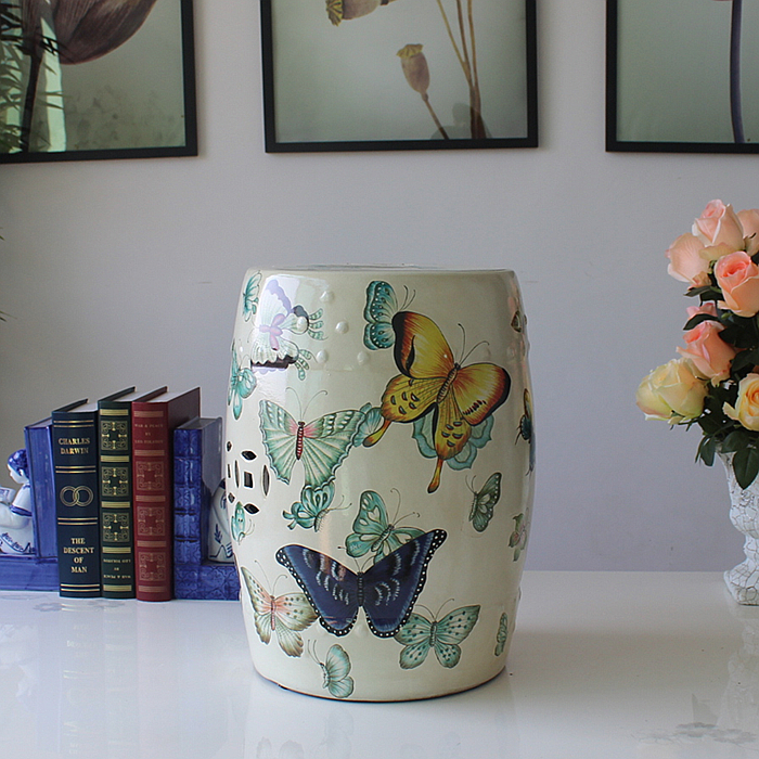 Beautiful modern ceramic butterfly decoration white stool for indoor decoration dd001891 beautiful white