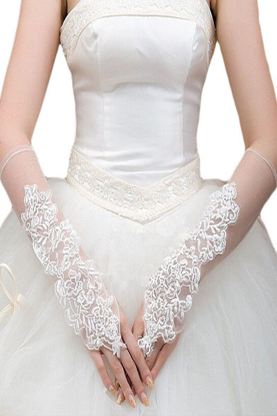 Twins Girl 2017 New Sexy Off White Organza Fingerless Elbow Length Gloves LC73130