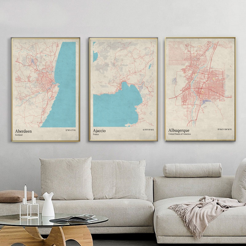 Detail Feedback Questions About World City Map Aberdeen Scotland Ajaccio France Albuquerque US Living Room Wall Art Picture Home Decor Canvas Painting On