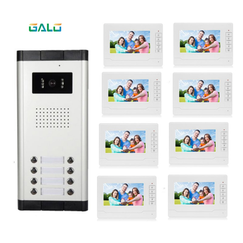 video intercom 7 inch memory video doorphone apartment building intercom system with 2 rooms
