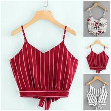 الأحمر 2019 أزياء السيدات الصيف نمط تانك القمم للنساء الذاتي التعادل عودة V الرقبة مخطط المحاصيل القمم كامي بروتيل الإناث بلوزة