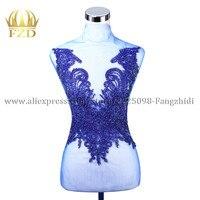 FZD 1 PIECE Handmade Blue Beaded Appliques for Clothes Apparel Fashion Crystal Rhinestone Design Wedding Patch Dress Decoration