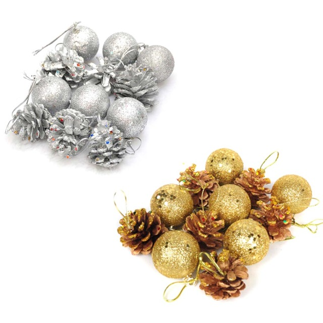 12pcs christmas tree hanging balls gold silver pine cone color drawing decorations ball xmas christmas decoration