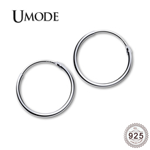 UMODE 2019 New 925 Sterling Silver Geometric Simple Round Hoop Earrings for Women White Gold Earring Hoops Jewelry Gifts ALE0472