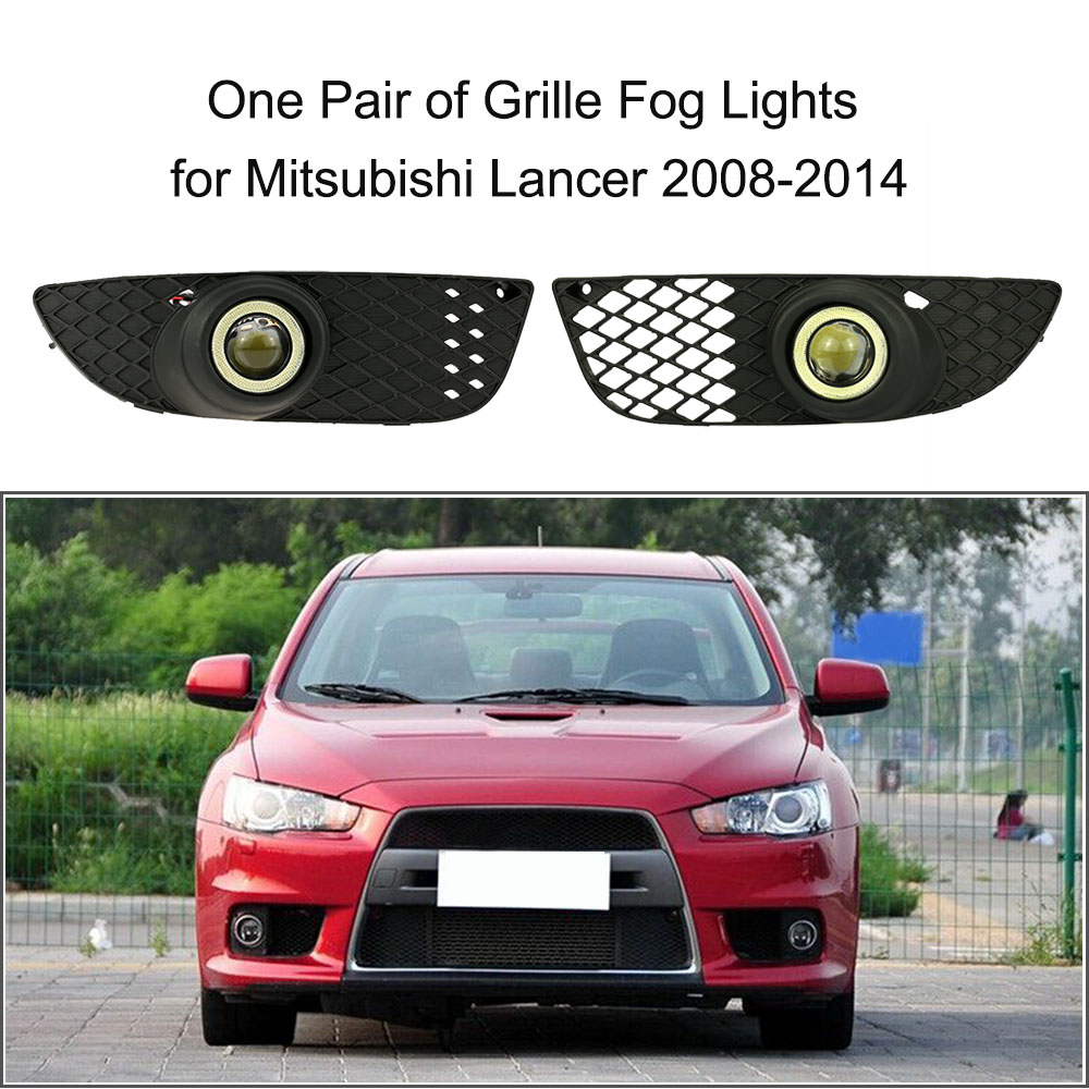 One Pair of Bumper Grille Fog Lights LED Lamp with Wiring Switch Kit for Mitsubishi Lancer 2008-2014 one pair of bumper grille fog lights led lamp with wiring switch kit for mitsubishi lancer 2008 2014