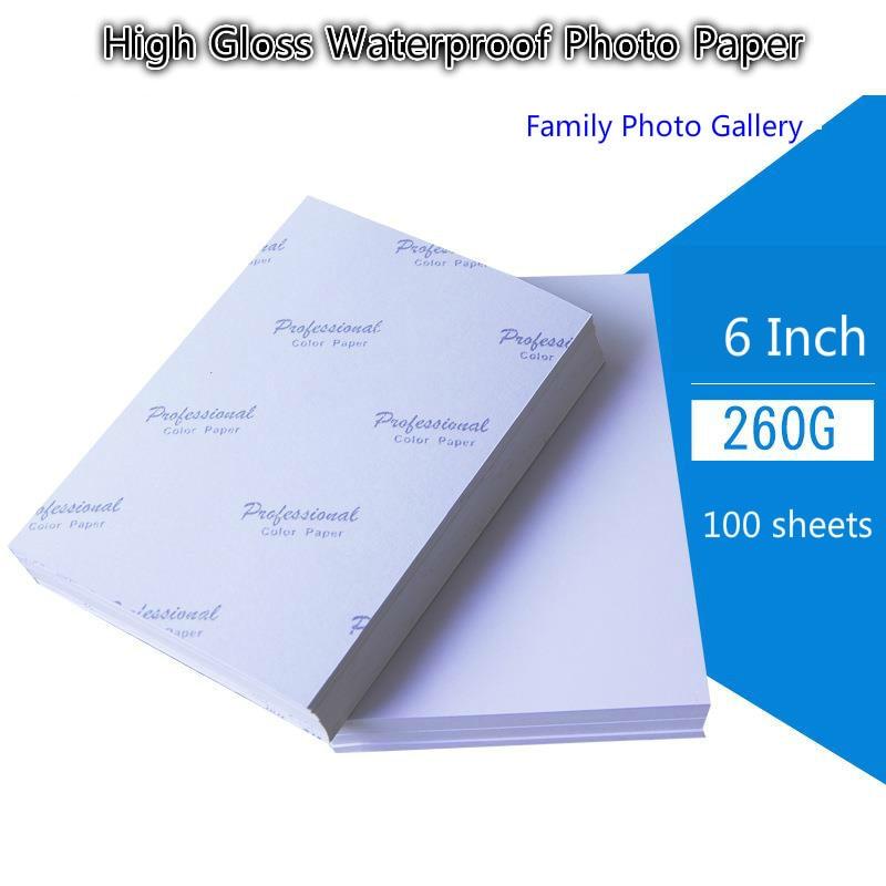 Купить с кэшбэком 260G 6inch Photo Paper 4R 100 Sheets High premium Glossy Printer Photographic Paper Printing for Inkjet Printers Office Supplies