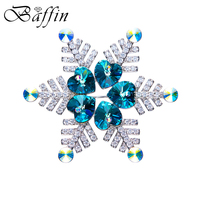 BAFFIN Luxury Snowflake Brooches Crystals From Swarovski CZ Stones Hijab Pins Women Party Accessories Gifts For 2017 Christmas